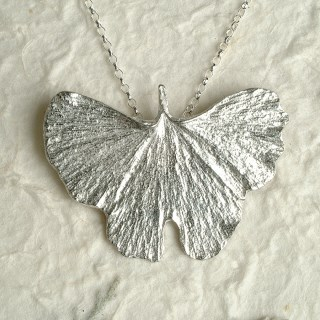 Ginkgo Leaf Necklace Pewter Jewellery UK Handmade | Image 4