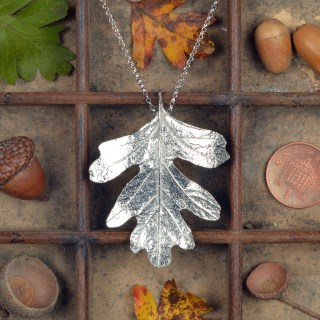 Hawthorn Leaf Necklace, Pewter and Silver Leaf Jewellery UK Handmade | Image 2