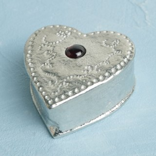 Heart Pewter Trinket Box Personalised with Garnet Stone | Image 5