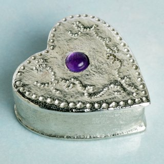 Personalised Heart Pewter Trinket Box with Amethyst | Image 3