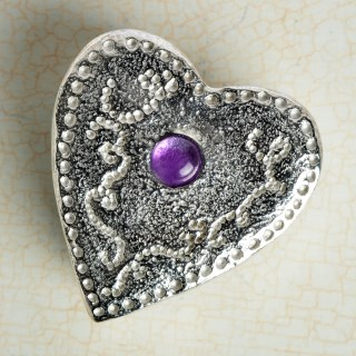 Personalised Heart Pewter Trinket Box with Amethyst | Image 2