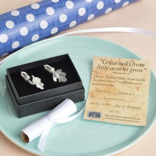 Christening Cufflinks 'From Little Acorns' Gifts for Boys | Image 3