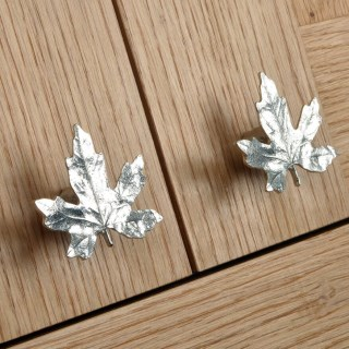 Maple Leaf Cabinet Handle Solid Pewter Door Knobs | Image 5