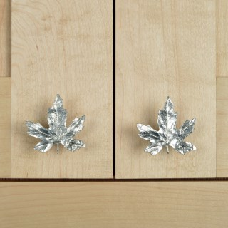 Maple Leaf Cabinet Handle Solid Pewter Door Knobs | Image 6