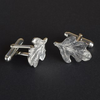 Pewter Oak Leaf Cufflinks, English Pewter Cufflink Gifts For Men | Image 3
