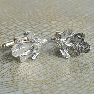 Pewter Oak Leaf Cufflinks, English Pewter Cufflink Gifts For Men | Image 2