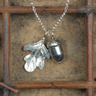 Acorn and Oak Leaf Necklace Pewter Jewellery Gifts | Image 2