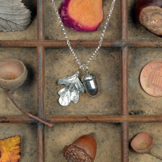 Acorn and Oak Leaf Necklace Pewter Jewellery Gifts | Image 3