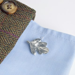 Pewter Oak Leaf Cufflinks, English Pewter Cufflink Gifts For Men | Image 5