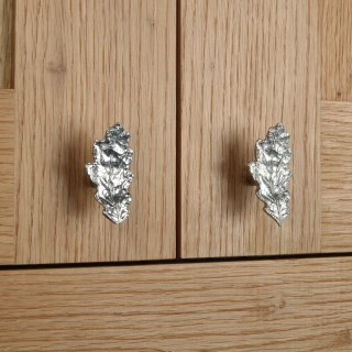 Oak Leaf Door Handle Cabinet Knobs Solid Pewter | Image 7