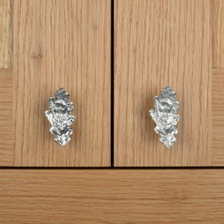 Oak Leaf Door Handle Cabinet Knobs Solid Pewter | Image 5