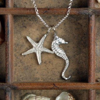 Seahorse and Starfish Necklace Pewter Jewellery Gifts UK Handmade | Image 2