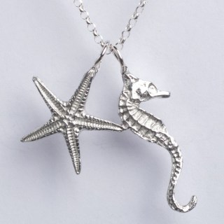Seahorse and Starfish Necklace Pewter Jewellery Gifts UK Handmade | Image 4