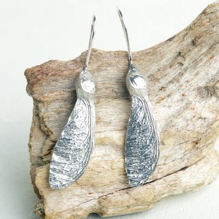 Sycamore 'Helicopter' Earrings. English Pewter Sycamore Key Gifts | Image 3