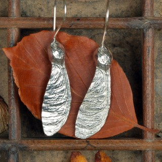 Sycamore 'Helicopter' Earrings. English Pewter Sycamore Key Gifts | Image 2