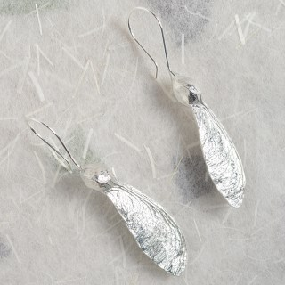 Sycamore 'Helicopter' Earrings. English Pewter Sycamore Key Gifts | Image 4