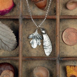 Oak Leaf and Sycamore Necklace, Pewter and Silver Jewellery | Image 2