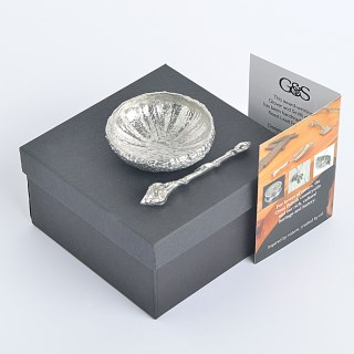 Pewter Urchin Shell Bowl with Tiny Pewter Spoon | Image 3