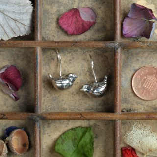 Wren Bird Drop Earrings, English Pewter Gifts For Bird Lovers | Image 3